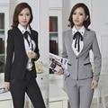 Novo 2015 Formal de Design uniforme terninhos jaqueta de inverno outono e calças trabalho negócios profissional usar ternos para o Office Ladies