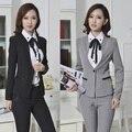 Nuevo 2015 uniforme de gala diseño trajes de pantalones de otoño chaqueta de invierno y pantalones profesional de negocios trajes del desgaste del trabajo de la oficina para mujer