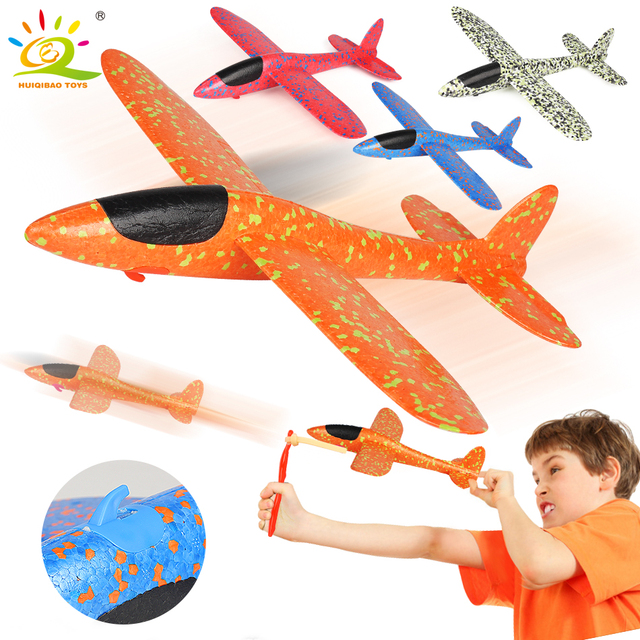 HUIQIBAO TOYS 38*37cm Slingshot Launch Glider Aircraft Airplane ThrowFoam Airplane Plane Outdoor Educational Toys For children