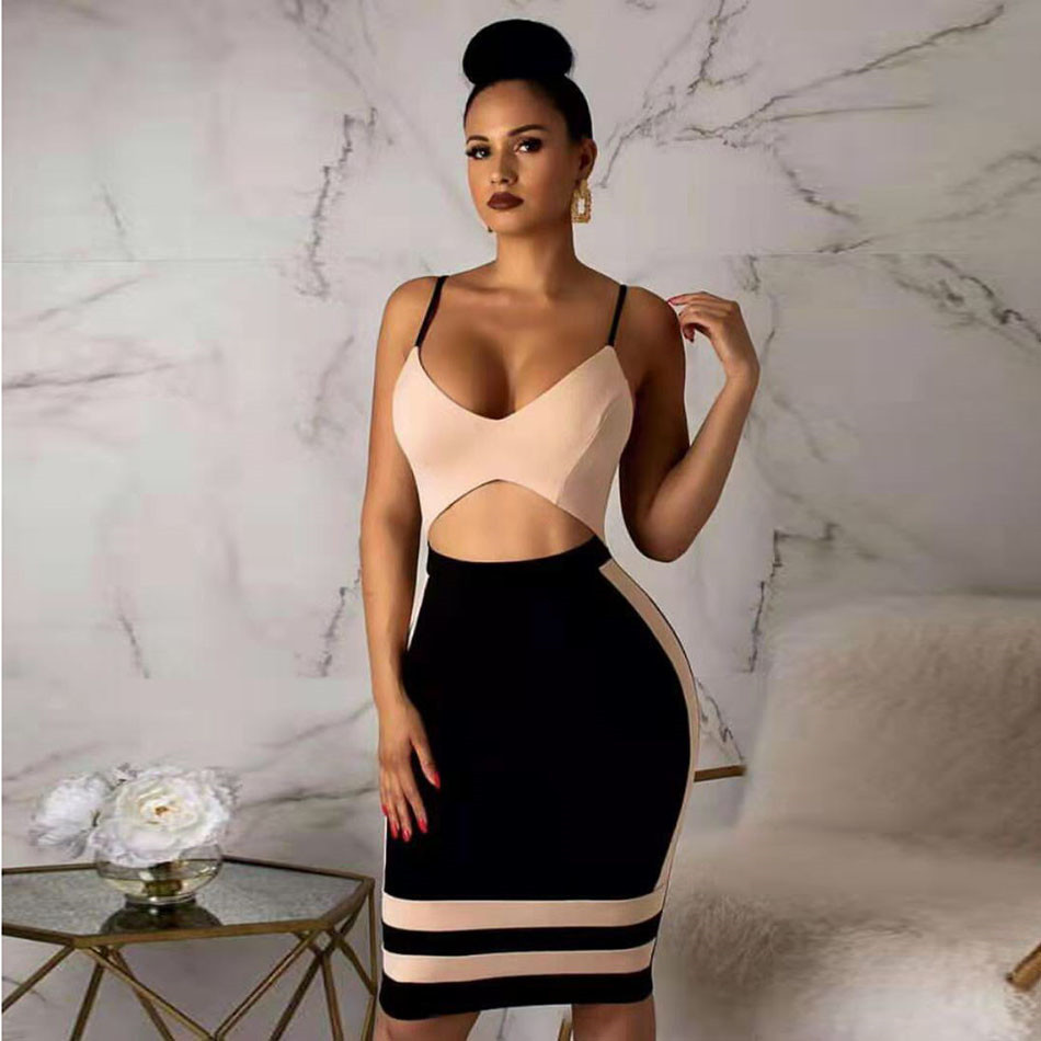 Bandage Dresses Fashion Spaghetti Strap Sleeveless 2019 New Deep V Backless Sexy Club Evening Party Dress