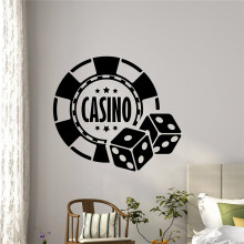 Casino Tường Decal Xúc Xắc Aces Poker Chơi Phòng Holdem Thẻ Game Art Teen Kids Room Tường Decor Removable Tường Sticker M900(China)