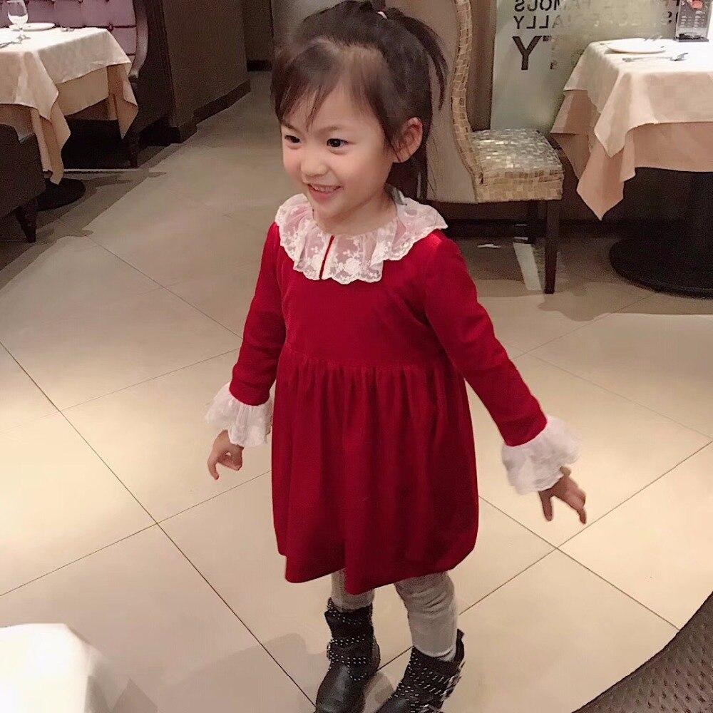 En stock enfants fille robe velours dentelle robe de princesse couleur Pure style classique enfants robes pour filles de mariage