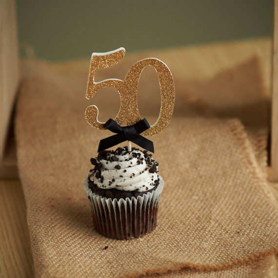 Custom 50th Birthday Cupcake Toppers Wedding Anniversary Cake Topper Gold Glitter Food Picks Party Ideas In