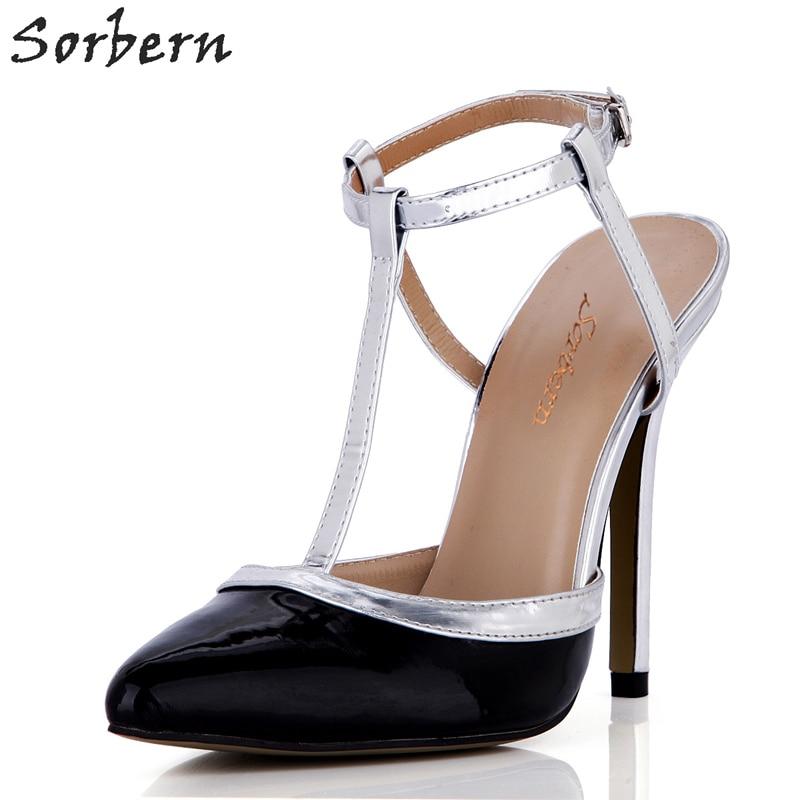 Sorbern noir et argent en cuir verni dames chaussures de soirée talons hauts bureau dames Mature Style chaussures à la mode femmes taille 10