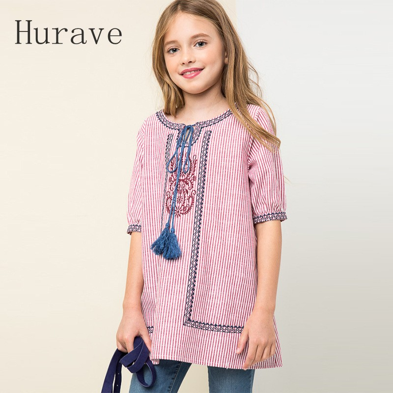 Hurave 2017 new fashion autumn embroidery children clothes cotton girls dress long sleeve dress for kids princess vestidos
