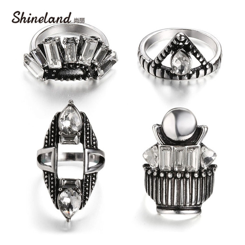 1 Set 4 pcs Womens Crystal Rhinestone Antique Silver Color Geometric Knuckle Midi Mid Finger Tip Stacking Rings For women Men