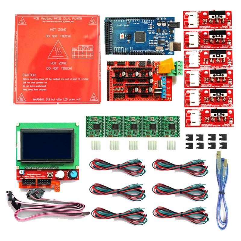 Reprap Ramps 1 4 Kit with Mega 2560 r3 Heatbed MK2B 12864 LCD Controller 5pcs A4988