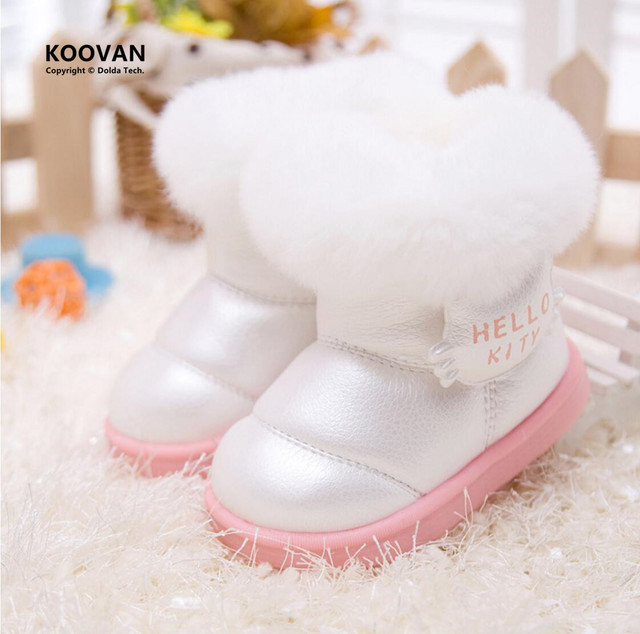 Koovan Children Boots 2017 Kids Children's Shoes Shiny Fur Warm Winter Boots Snow Boost Baby Girls Cotton Padded Toddler Baby's