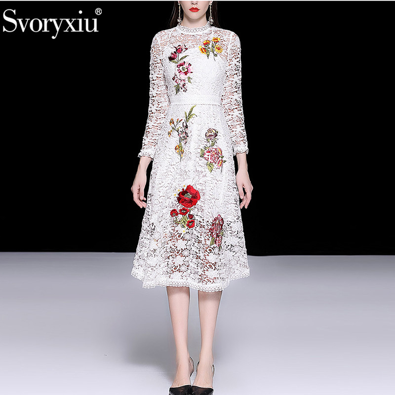 Svoryxiu Sexy Hollow Out Embroidery White Dress Women s Elegant Long Sleeve Beading Runway Mermaid Party