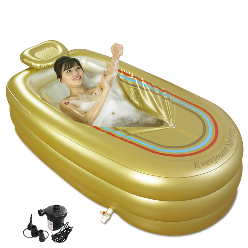 A,Extra Large Inflatable Bathtub Adult Thicken Folding Bathtub Home SPA Plastic Insulation Bathtub With Cushion+Electric Pump