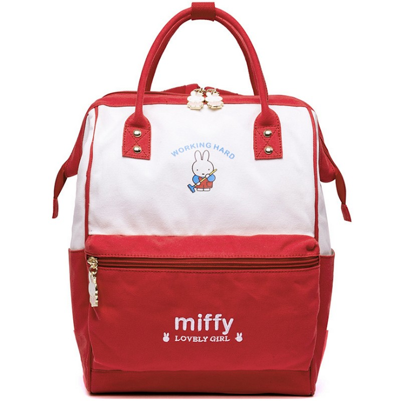 miffy Brand design multifunction Teenager Canvas Backpacks For Girl Backpack Travel Bag Women Large Capacity Preppy Style Bags preppy style drawstring and canvas design satchel for women