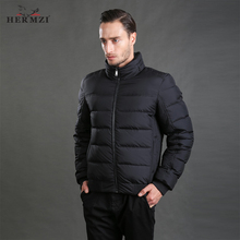HERMZI 2019 Winter Jacket Men Fashion Cotton Padded Mens Coat Padding Autumn Hidden Hood High Quality