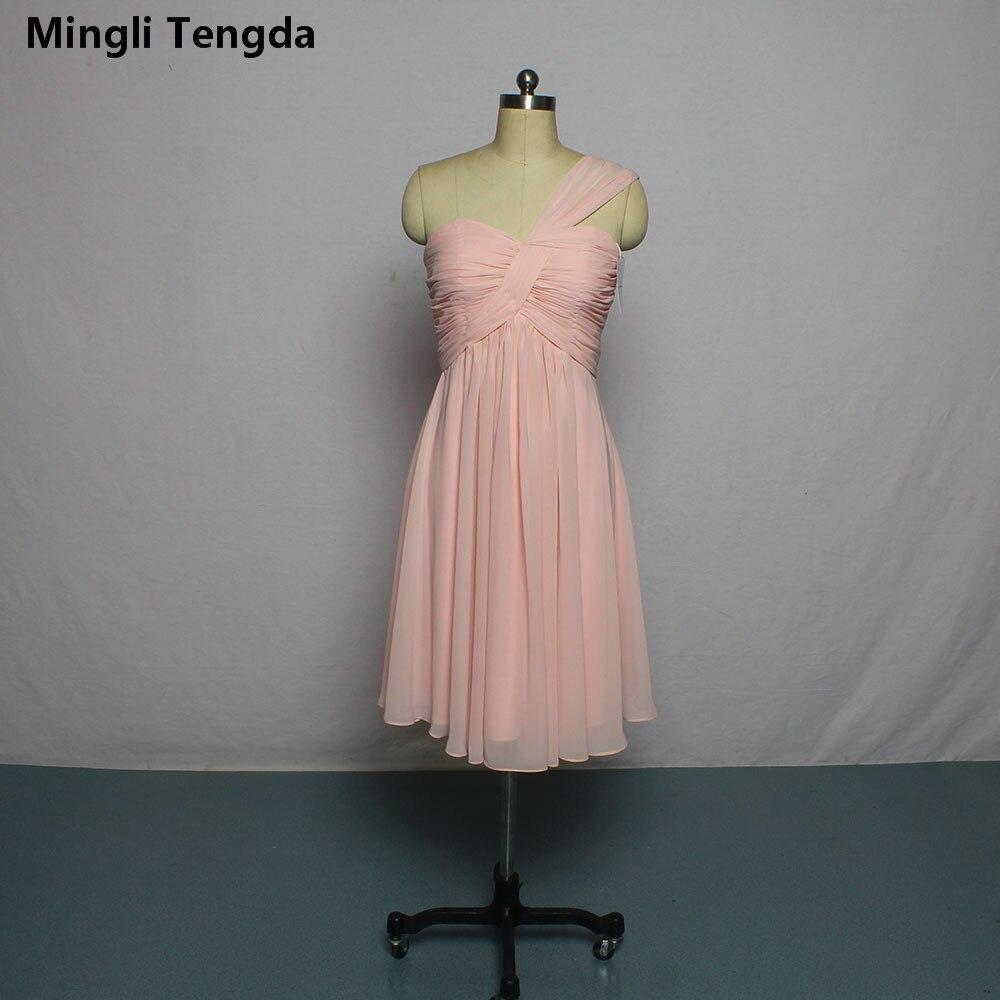 Mingli Tengda rose robe de demoiselle d'honneur en mousseline de soie une épaule robes de demoiselle d'honneur plissée couleur bonbon livraison rapide fête Min robes