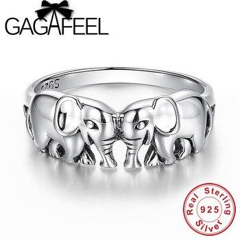 Anillos de plata de ley 100% GAGAFEEL, anillos de joyería de elefante auspicioso fino para mujeres, anillos de dedo de plata tailandeses, colgantes, envío directo