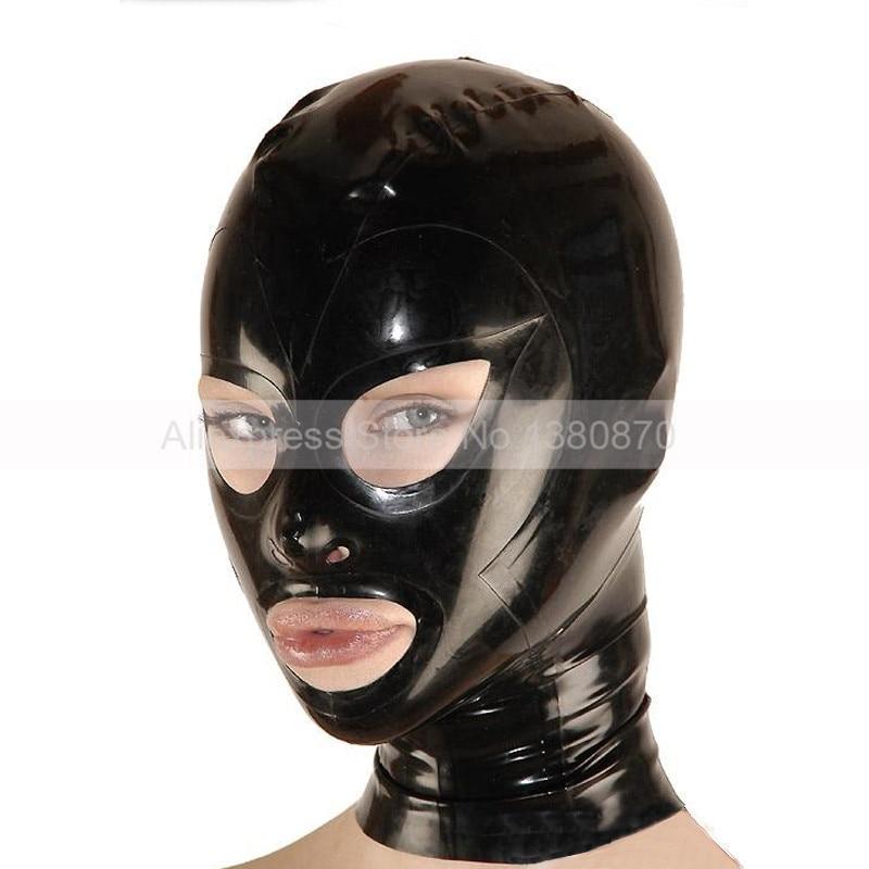 Unisex črna lateks maska z zadrgo - Karnevalski kostumi