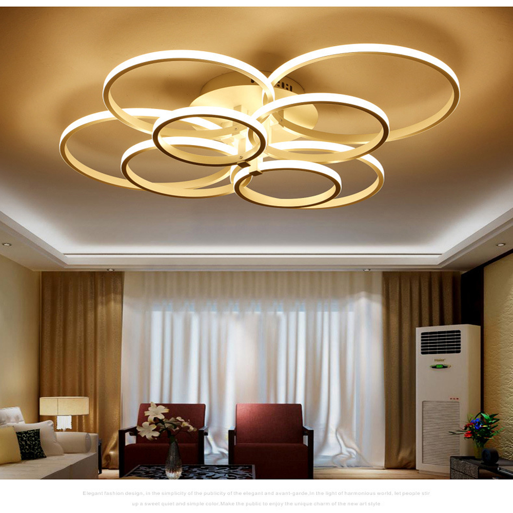 rings white finished chandeliers LED circle modern chandelier lights for living room acrylic Lampara de techo indoor Lighting rings white black chandeliers led circle modern chandelier lights for living room avize acrylic lampara de techo indoor lighting