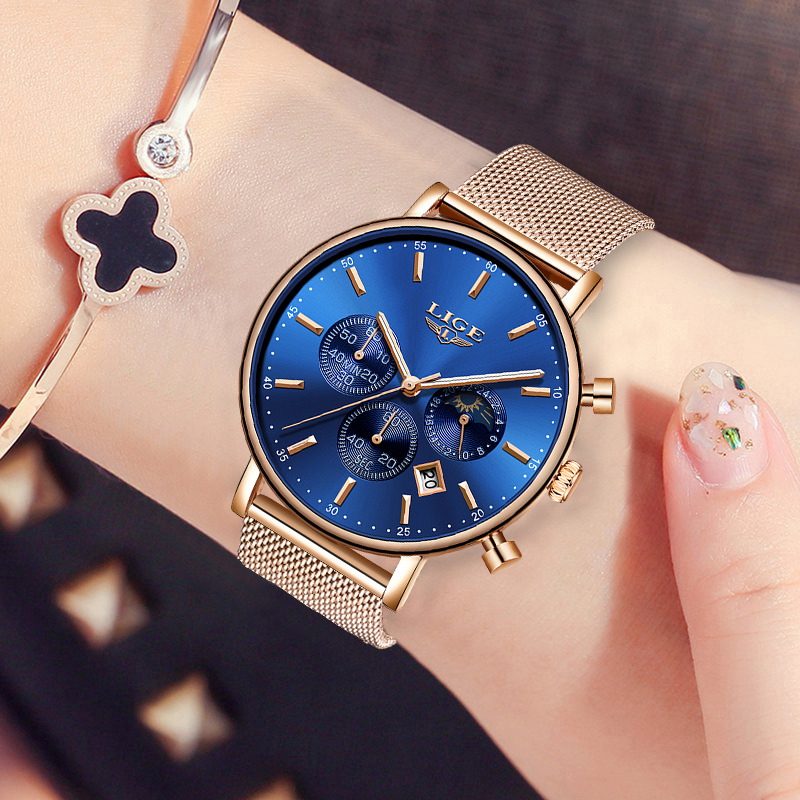 LIGE NEW Women's Watch 2019 Fashion Ladies Watches For Women Rose Gold Watch Women Simple Bracelet Montre Femme 2019 Reloj Mujer
