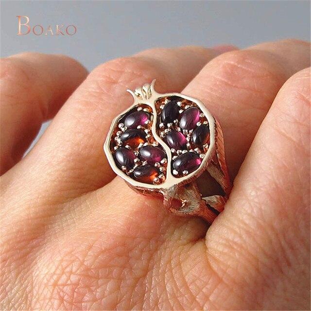 여성/남성을위한 골드 컬러 링 레트로 레드 석류 반지 Punica granatum Garnet bague femme anillos mujer jewelry Z4