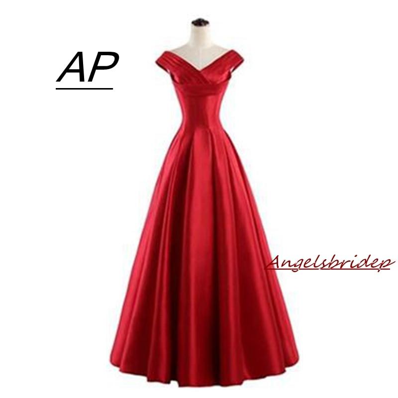 Angelsbridep New Long Red Prom Dresses 2019 Vestidos De Fiesta A-line Cap Shoulder Satin Vintage Robe De Bal Party Gowns