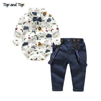 baby boy clothes 2020 autumn baby girl clothing sets newborn cotton printed long sleeved t shirt pants cap kids 3pcs suit Top and Top Baby Boy Clothing Set Autumn Newborn Gentleman Suit Long Sleeve Bow Shirt+Suspender Pants Kids Cotton Formal Clothes
