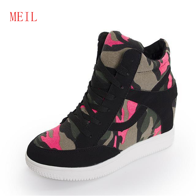 Spring Tigh Top Sneakers Women Casual Shoes New Platform Height Increasing Chunky Shoes Woman Wedge Trainers Chaussure Femme