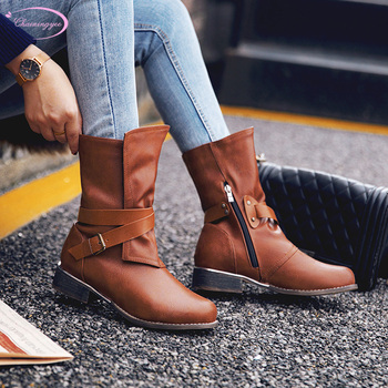 European casual style round toe mid-calf boots fashion zipper buckle black grey yellow low heel motorcycle boots women's shoes