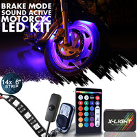 14pc Glow Light Multi Color Remote Control Motorcycle Light Kit 9 Leds Per Strip   Brake Mode   Music Active   Switch Cable