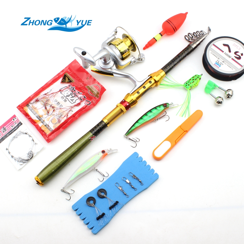 High Quality Carbon Fishing Rod Portable Foldable Travel Spinning Cheap Telescopic Rods Fishing Lures and Metal Reels Set high quality screwdriver combination set unique telescopic function
