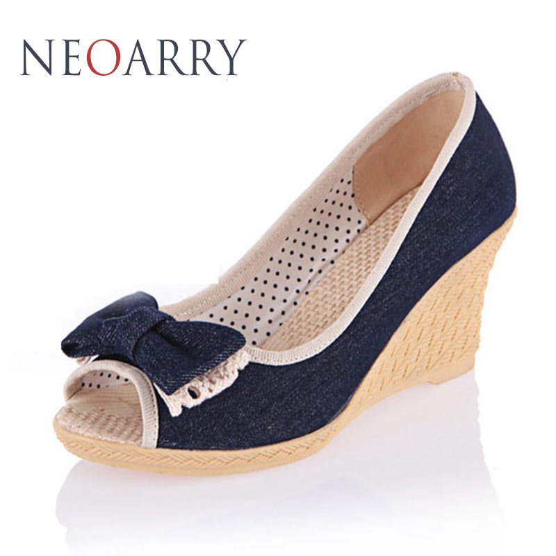 NEOARRY Bowtie Peep Pumps Shoes Sweet Women High Heels Wedges Denim Pumps Woman Sandalias Mujer Zapatos Mujer Tacon JT668 7 colors new sexy women pumps shoes high heels tacon alto bride wedding zapatos mujer pointed toe sweet bowtie women shoes