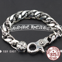 S925 sterling silver bracelets personality fashion classic vintage domineering cross army flower punk hip hop style hot models