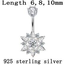 Пупка Кольцо Настоящее серебро 925 проба женский цветок из циркона прозрачные камни ювелирные изделия для тела чистое серебро пирсинг для тела