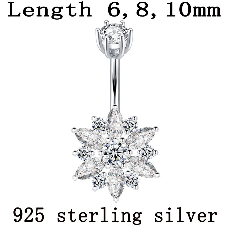 Belly button ring real 925 sterling silver women flower zircon clear stones body jewelry pure silver body piercing free shipping