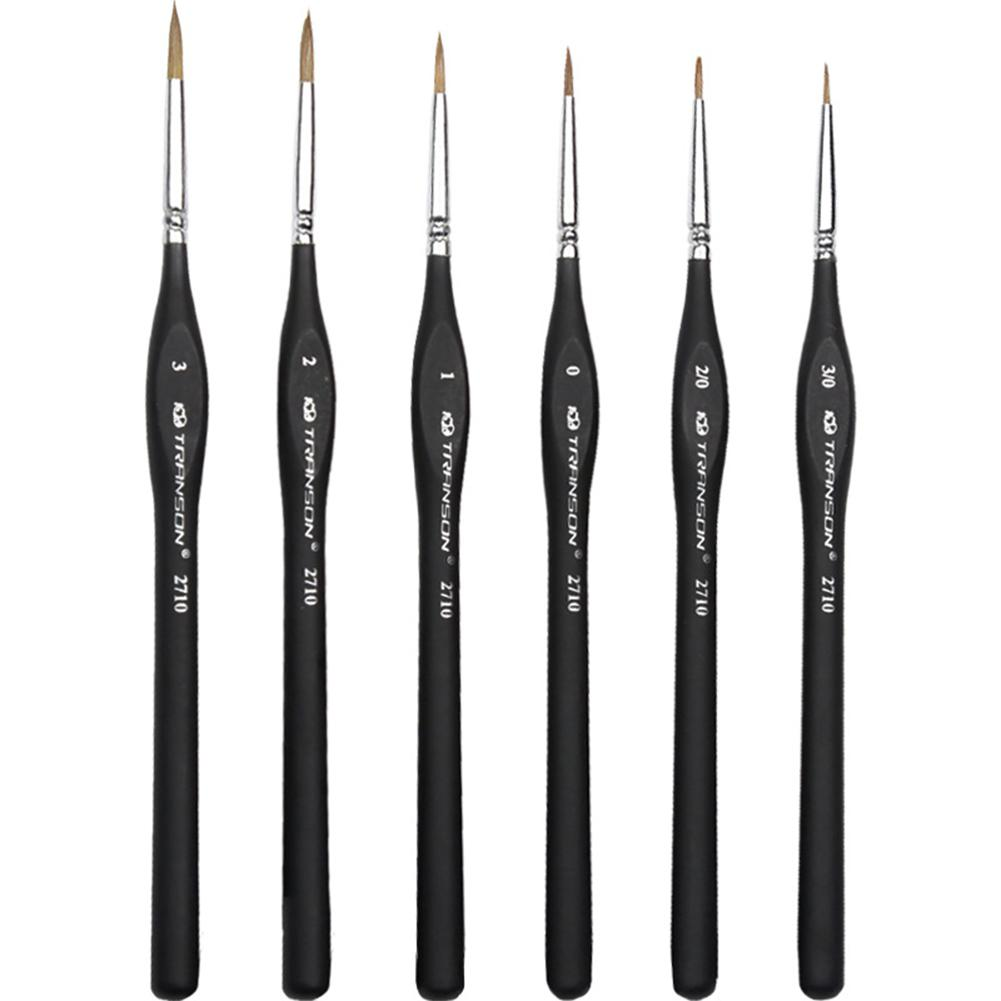Detail Paint Brush With Black Pole For Miniature Watercolor Acrylic Oil Painting Drawing Liner Pen Painting Brush R20