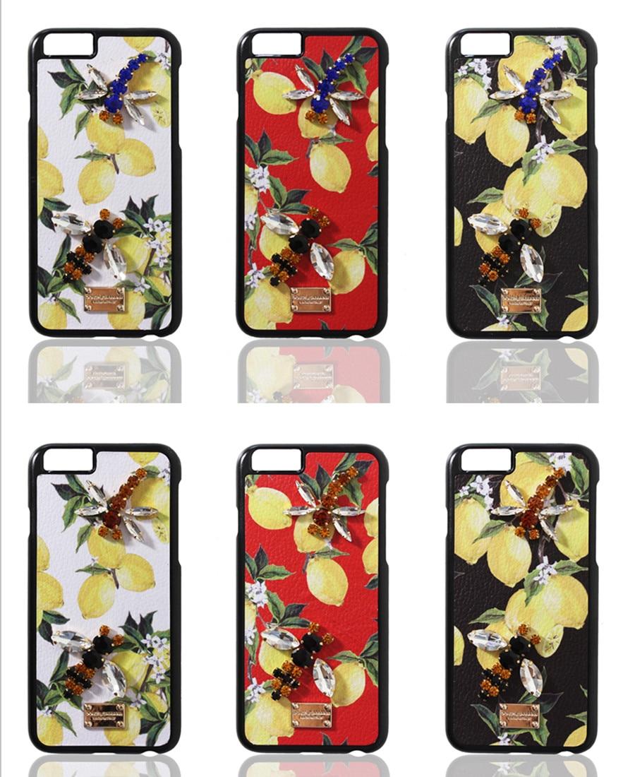 bilder für Luxus kristall diamant sizilien lemon obst leder telefon abdeckung coque für iphone 7 case 6 6 s 7 plus case strass libelle