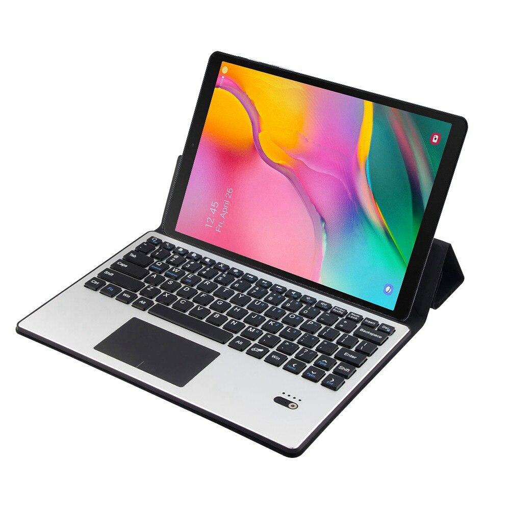 Pour Samsung Galaxy Tab S5e 10.5 T720 T725 amovible en aluminium Bluetooth Touchpad clavier russe + étui mince en cuir PU