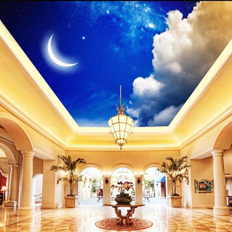 Individuelle Fototapeten Nachthimmel Mond Decke Tapete Wohnzimmer Schlafzimmer Grosse WandbildChina