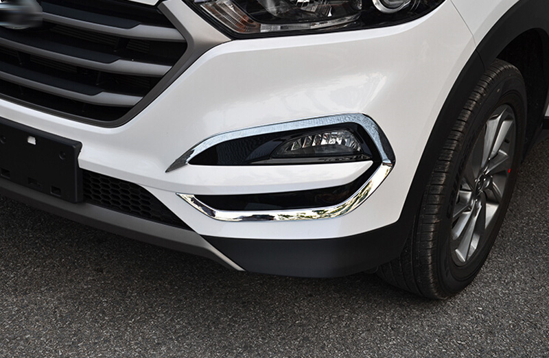 ABAIWAI Car Stickers For Hyundai Tucson 2015 2016 2017 Head Fog Lights Frame Chrome Auto Modification Accessory Motorcycle 2PCS