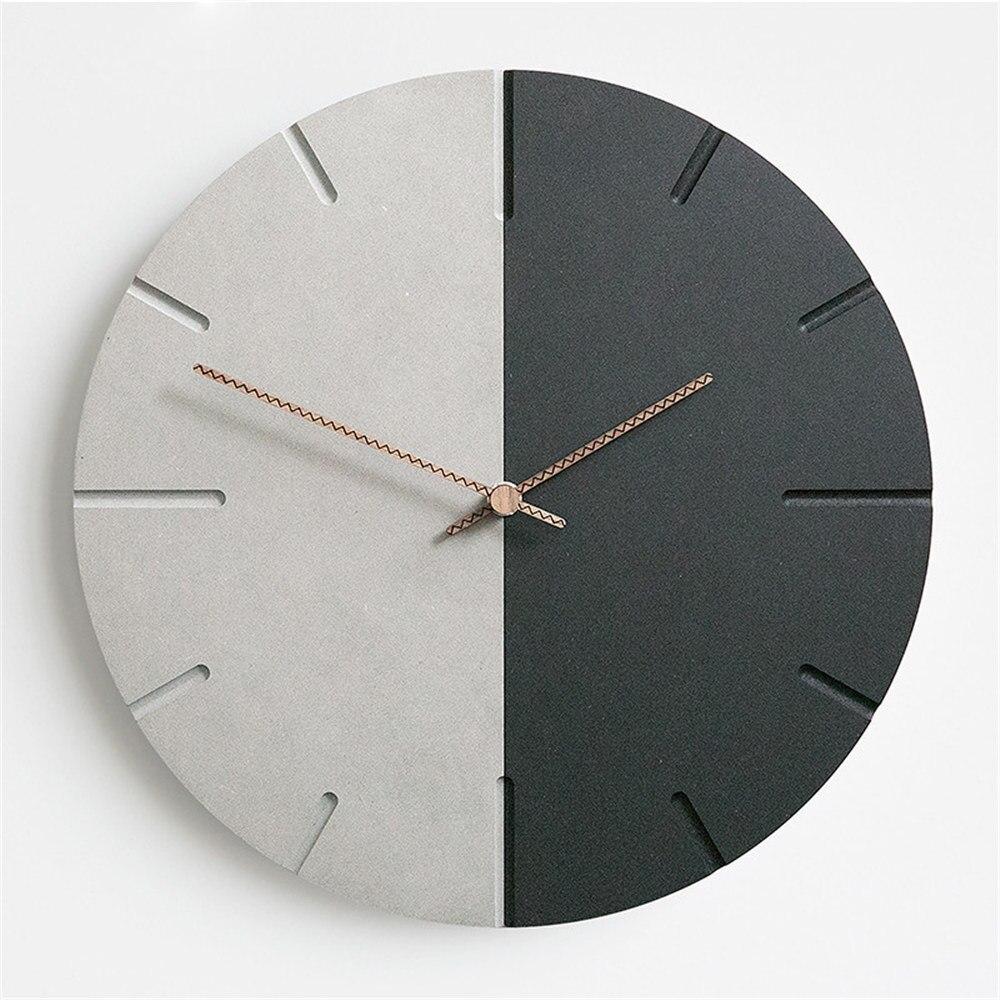 Horloge murale en MDF moderne nordique ronde minimaliste mode rétro gris noir artistique silencieux Suzuki horloge pour café décor à la maison
