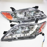 For TOYOTA Aurion Camry 2007 2009 year LED Head lamp Chrome Housing Yellow Reflector SN