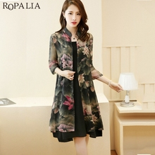 ROPALIA 2018 New Arrival Fashion Autumn 2 PCS Sets Sleeveless Knee-Length Dress + Chinese Style Print Chiffon Covers Up Suits