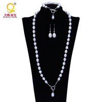 Natural Cultured Freshwater Pearl Jewelry Sets Women 10mm Pearl Sets Bracelet Necklace Earring Jewelry Silver Fine