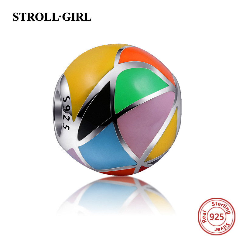Fit pandora Charms Bracelets 925 Sterling Silver Charm With Colours of the rainbow Polishing Enamel Beads Authentic Jewelry Gift