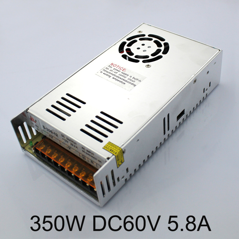 Promotion for Sale 350W 5.8A Single Output 60V Switching power supply AC TO DC for  Led strip S-350-60 350w 60v 5 8a single output switching power supply ac to dc for cnc led strip