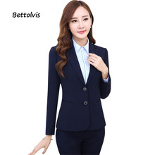 Fashion Work wear women's pants suits 2018 Autumn women set formal 2 buttons long-sleeve blazer and pant XXXL office suits
