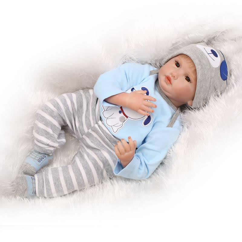 2016 New Reborn Baby Doll Boneca Lifelike Newborn Boy Dolls Wearing Blue And Gray Clothes Children Birthday Xmas Gift short curl hair lifelike reborn toddler dolls with 20inch baby doll clothes hot welcome lifelike baby dolls for children as gift