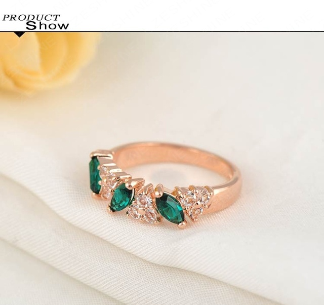 Rose Gold Plated Green Zircon Crystal Ring