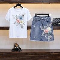 2019 Summer Woman Two Piece Set 3D Flowers Appliques Embroidery Short Sleeve White Cotton T shirt + Hole Denim Skirt Suit Sets