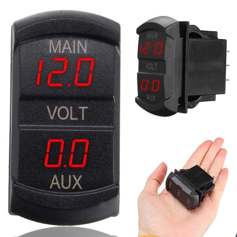 Mayitr 1pc 10-60V Red LED Digital Volt Meters Dual Voltmeter Voltage Gauge Monitor for 12V-24V Car Motorcycle Boat Marine ATV RV