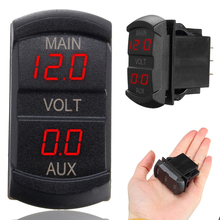 Mayitr 1pc 10-60V Red LED Digital Volt Meters Dual Voltmeter Voltage Gauge Monitor for 12V-24V Car Motorcycle Boat Marine ATV RV