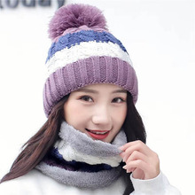 New Warm Winter Hat For Women Female Fur Lined Soft Beanie Neck Warmer Scarf Thick Striped Color Knitted Fashion Pompom